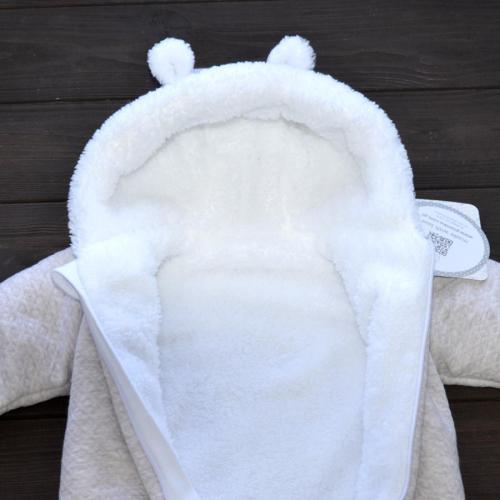 Стеганный двухслойный комбинезон на меху «Teddy Bear» кофейный Plamka