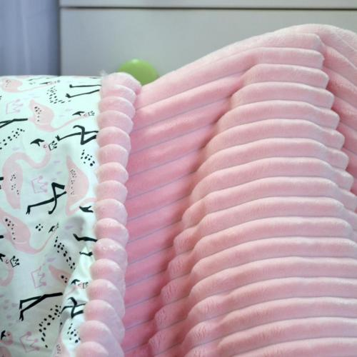 "Плед теплый ""Шарпей"" на выписку/для прогулок розовый плюш/фламинго Plamka (Poland)"