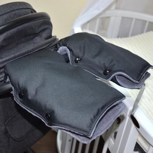 """Муфта NEW на коляску для рук """"Snow"""" черная  Plamka"""