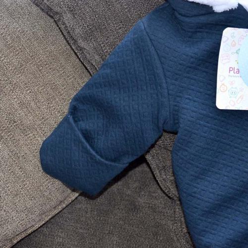Стеганный двухслойный комбинезон на меху «Teddy Bear»  Navy blue  Plamka
