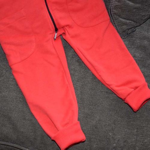 """Ромпер с капюшоном  с 2-нней молнией (без начеса) """"Jumpsuits"""" красный Plamka (Poland)"""