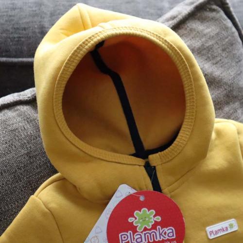"""Комбинезон на флисе с капюшоном 18,24м  """"Jumpsuits"""" горчица Plamka (Poland)"""