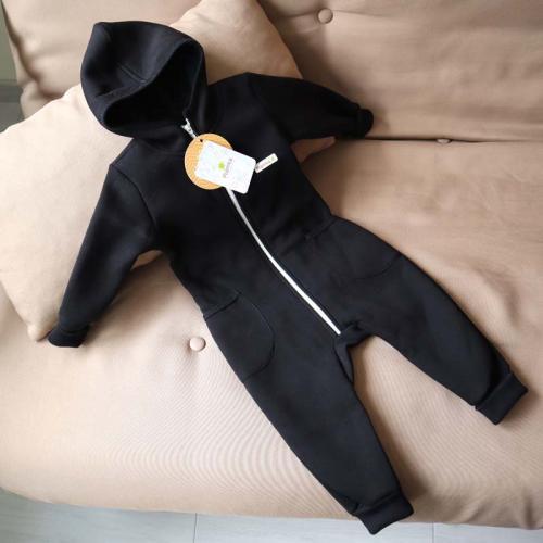"""Комбинезон на флисе с капюшоном 18,24м  """"Jumpsuits"""" черный Plamka (Poland)"""