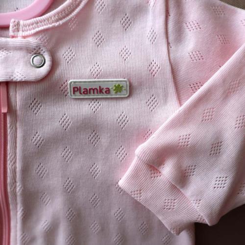 """Дышащий человечек слип """"Розовый""""  ромбик , на молнии Plamka (Poland)"""