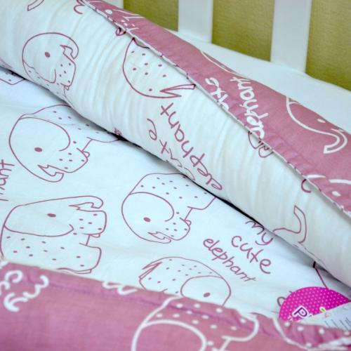 """Гнездышко с кокосовым матрасиком для малыша Babynest """"Слоники""""  розовые Plamka (Poland)"""