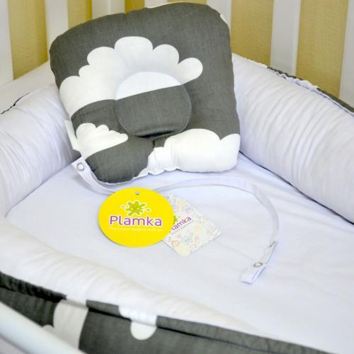 """Гнездышко с кокосовым матрасиком для малыша Babynest """"Маленькая тучка""""  серо-белое Plamka (Poland)"""
