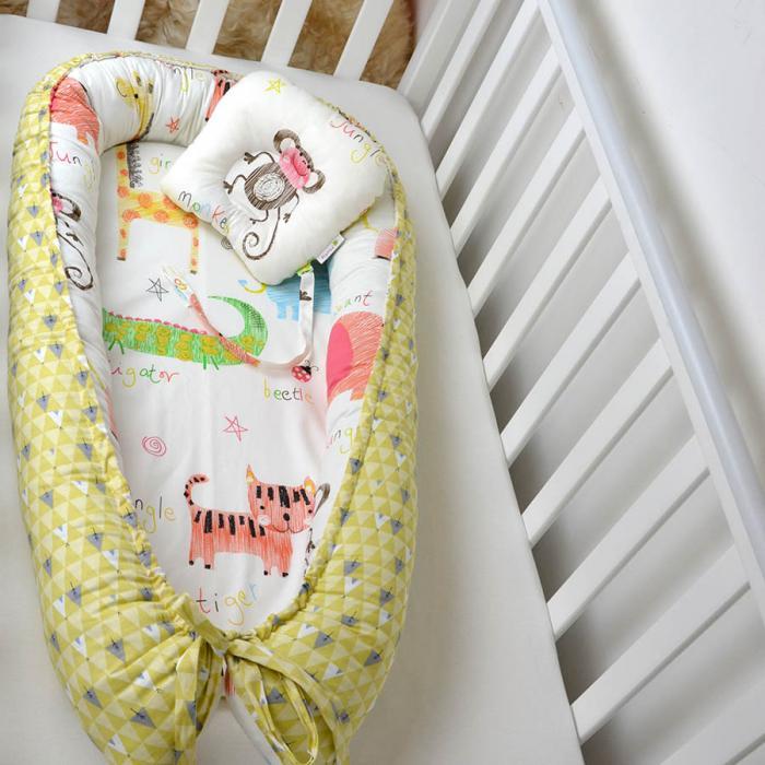 """Гнездышко для малыша Babynest  с ортопедической подушечкой """"Зоопарк"""" Plamka (Poland)"""