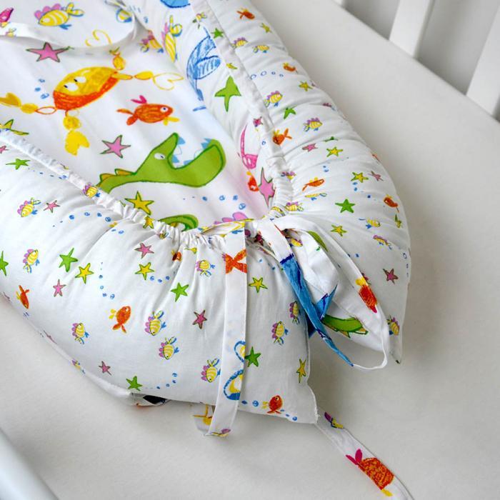 """Гнездышко для малыша Babynest  с ортопедической подушечкой """"Морские звездочки"""" Plamka (Poland)"""